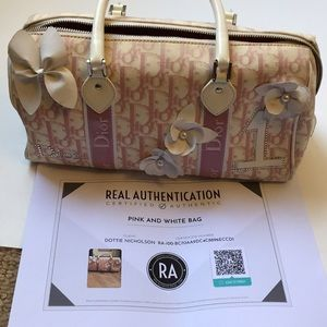 Authentic Christian Dior pink and white Boston bag